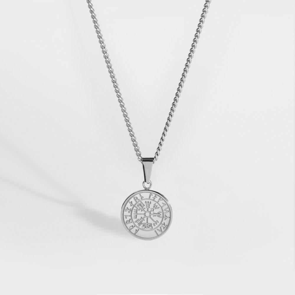 NL Minimal Vegvisir halskæde - Sølvtonet