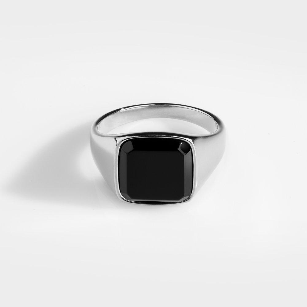 Black Onyx Signature - Sølvtonet ring