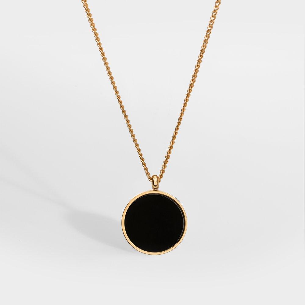 NL Black Onyx halskæde - Guldtonet