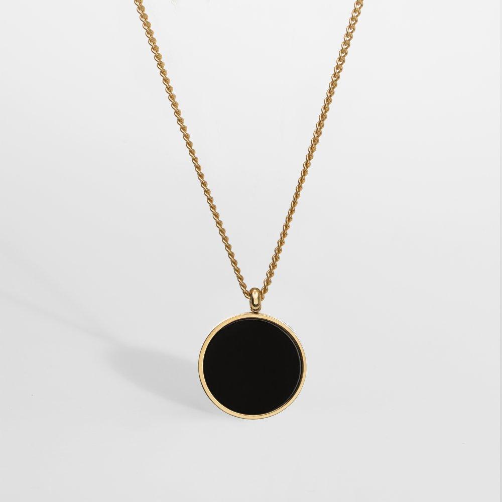 Black Onyx smykkesættet - Guldtonet