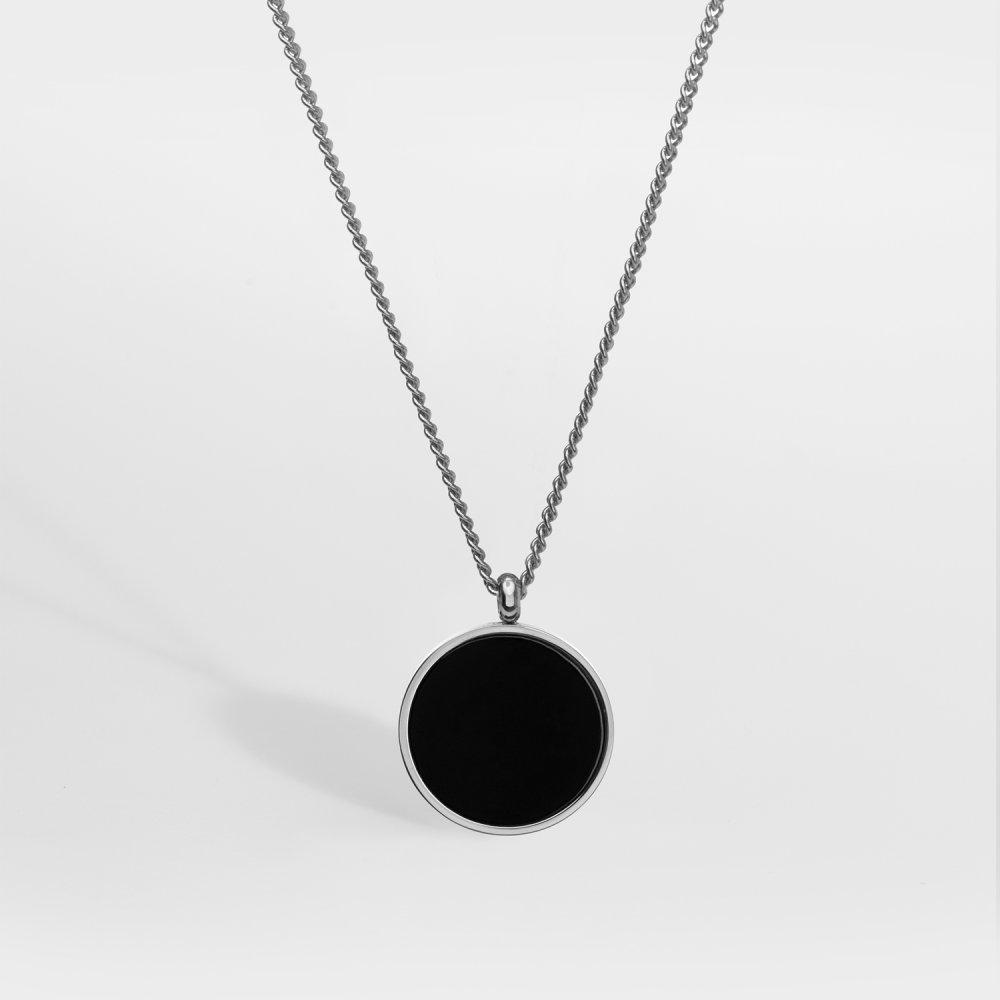 NL Black Onyx halskæde - Sølvtonet