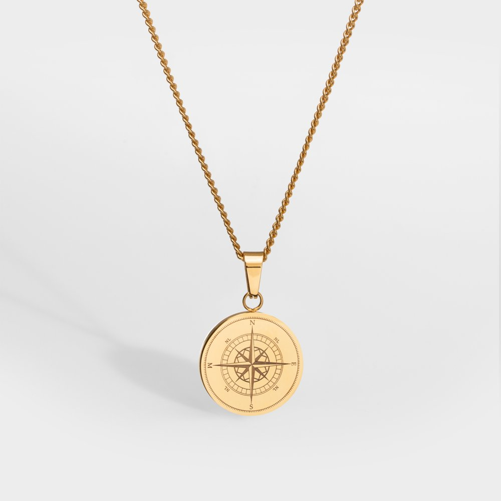NL Compass halskæde - Guldtonet