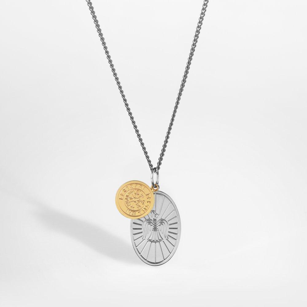 NL Muninn halskæde - Sølvtonet & Guldtonet
