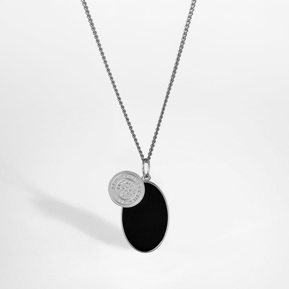 NL Vegvisir/Onyx halskæde - Sølvtonet