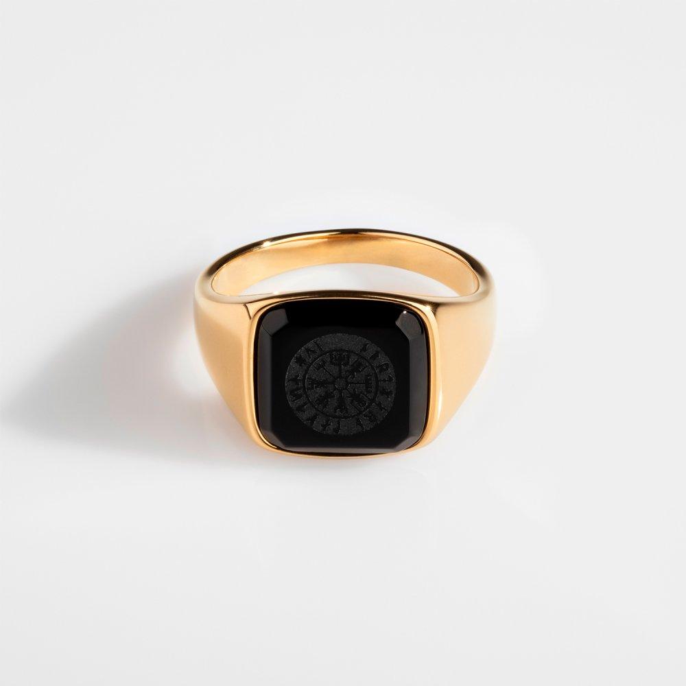 Black Onyx Vegvisir Signature - Guldtonet ring