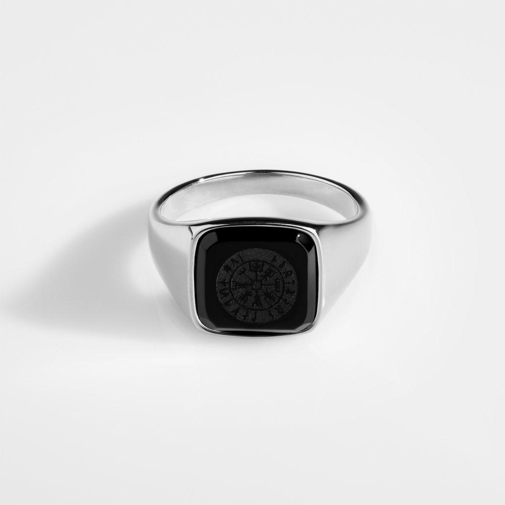 Black Onyx Vegvisir Signature - Sølvtonet ring