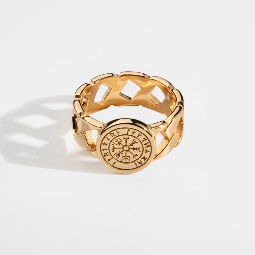 Vegvisir Chain Signature - Guldtonet ring