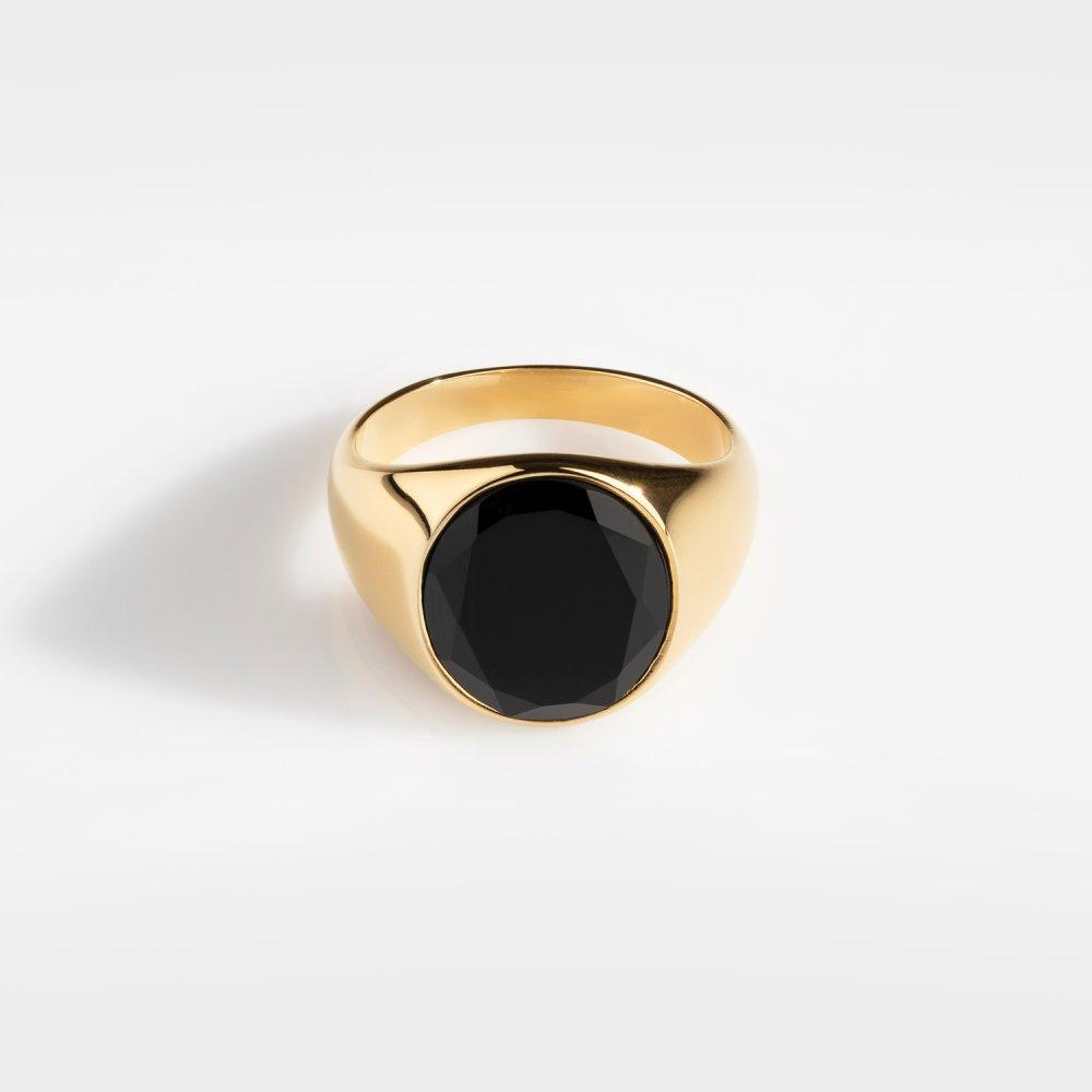 Oval Black Onyx Signature - Guldtonet ring