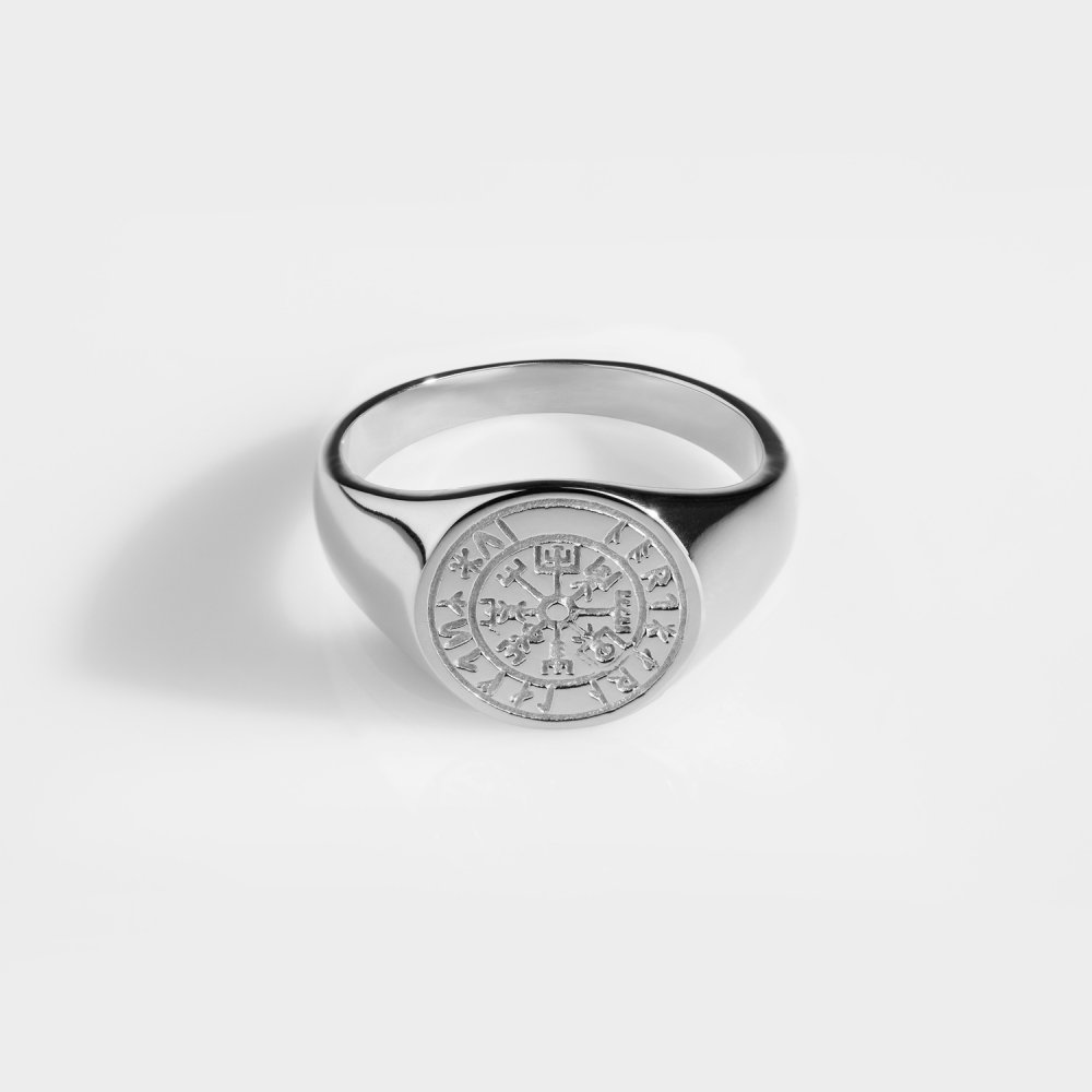 Vegvisir Oval Signature - Sølvtonet ring
