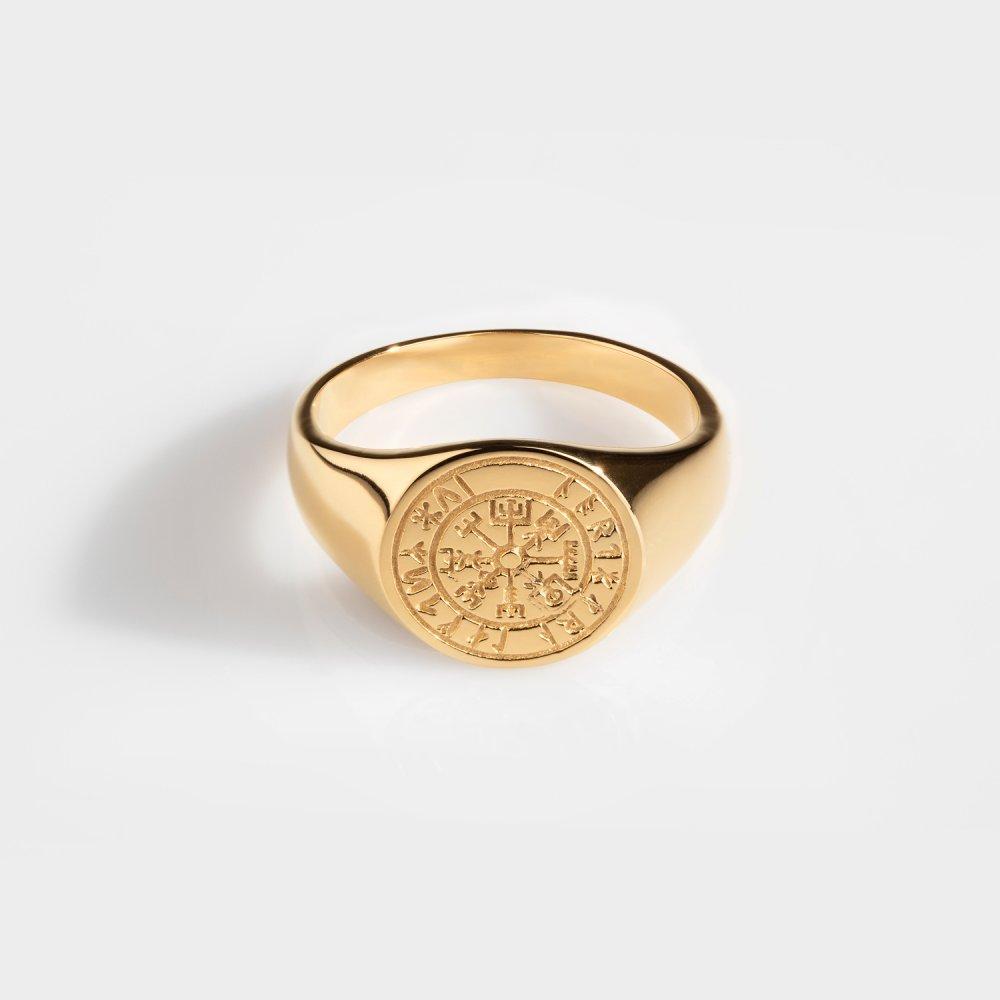 Vegvisir Oval Signature - Guldtonet ring