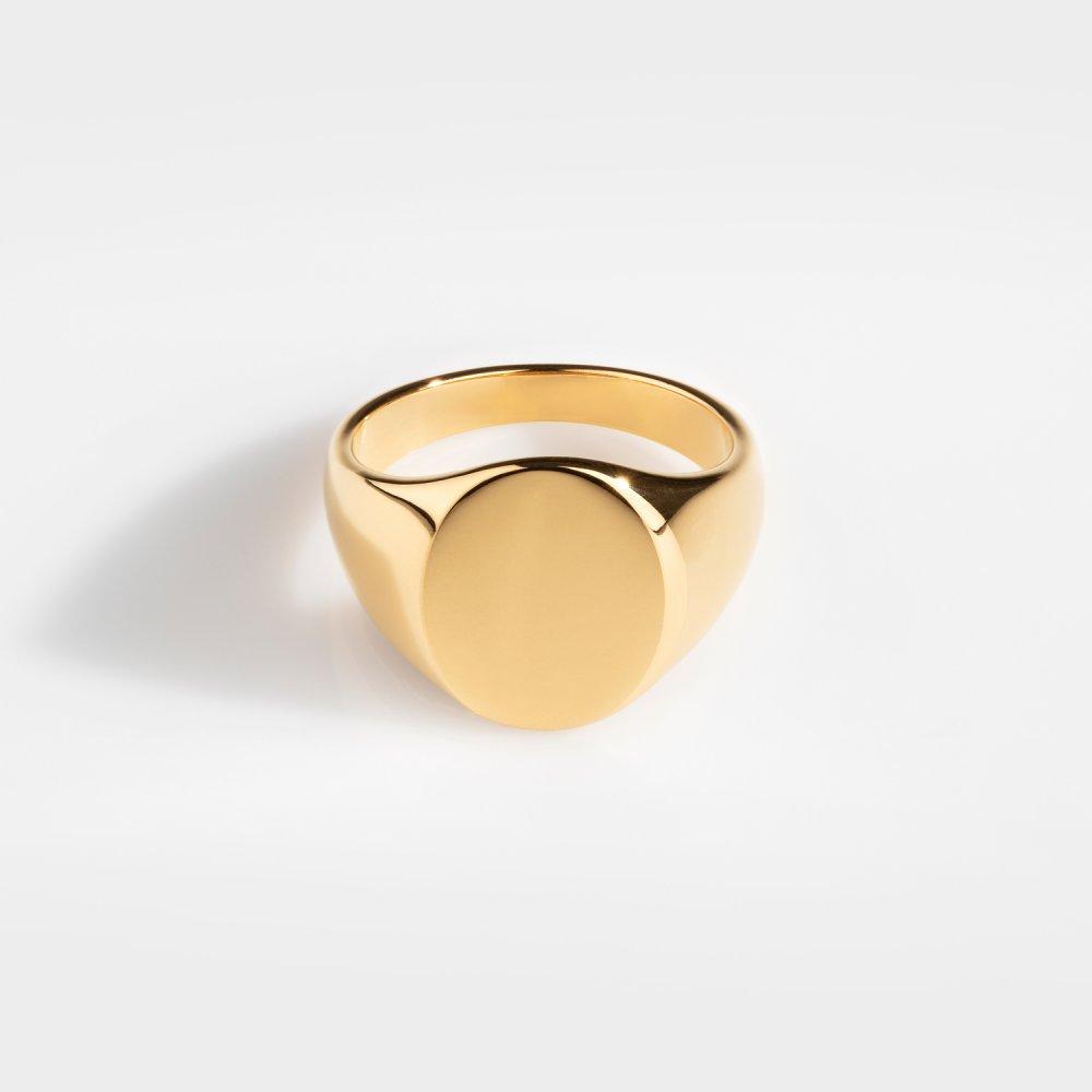 Classic Oval Signature - Guldtonet Ring
