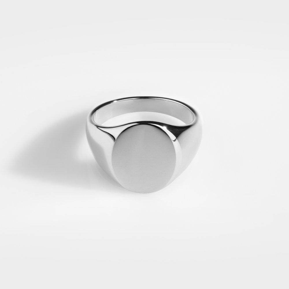 Classic Oval Signature - Sølvtonet ring