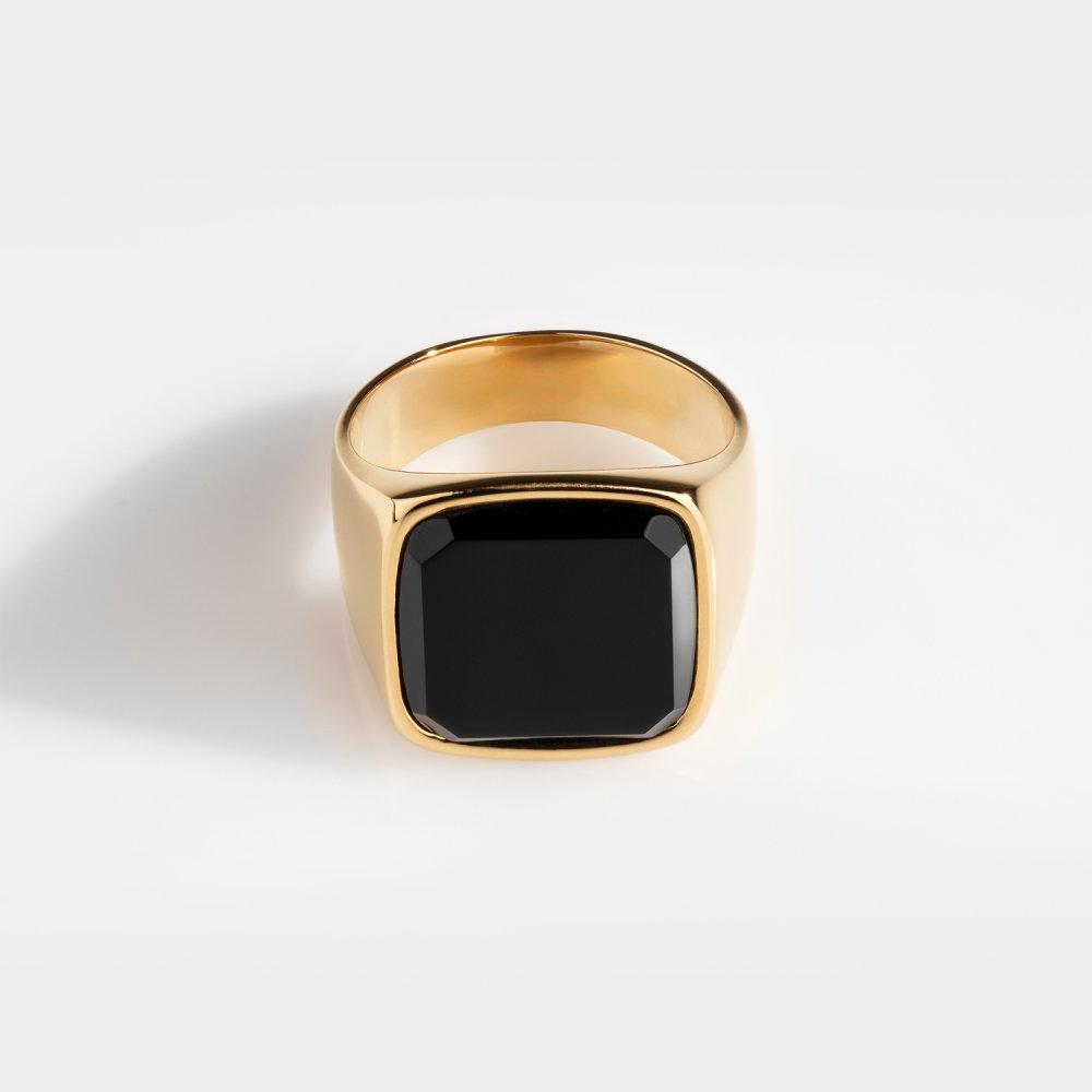 Black Onyx Oversize Signature - Guldtonet ring