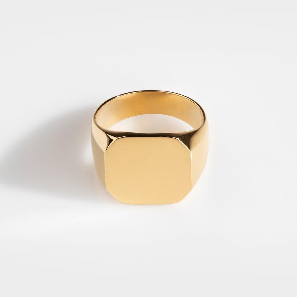 Classic Oversize Signature - Guldtonet ring