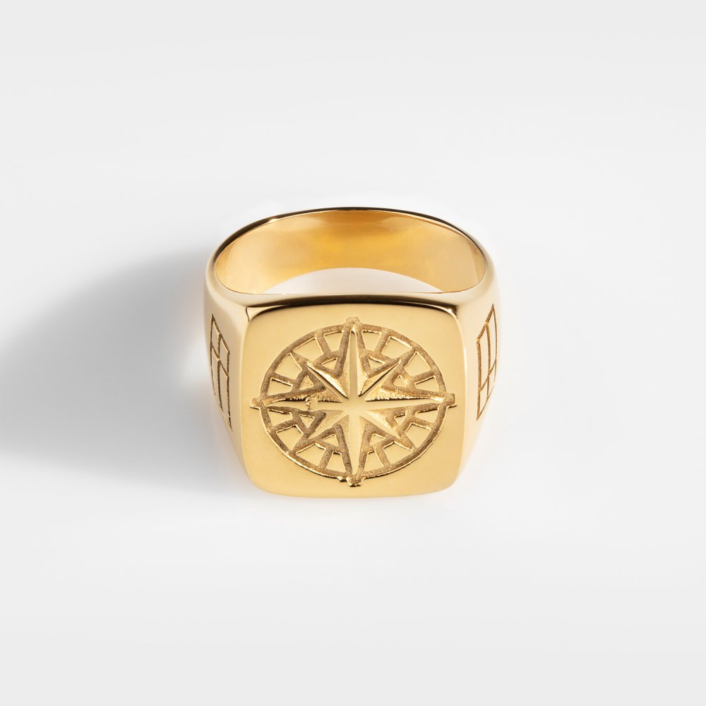 Compass Oversize Signature - Guldtonet ring