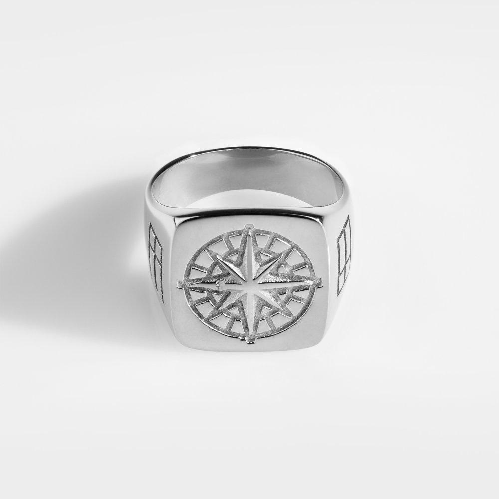 Compass Oversize Signature - Sølvtonet ring