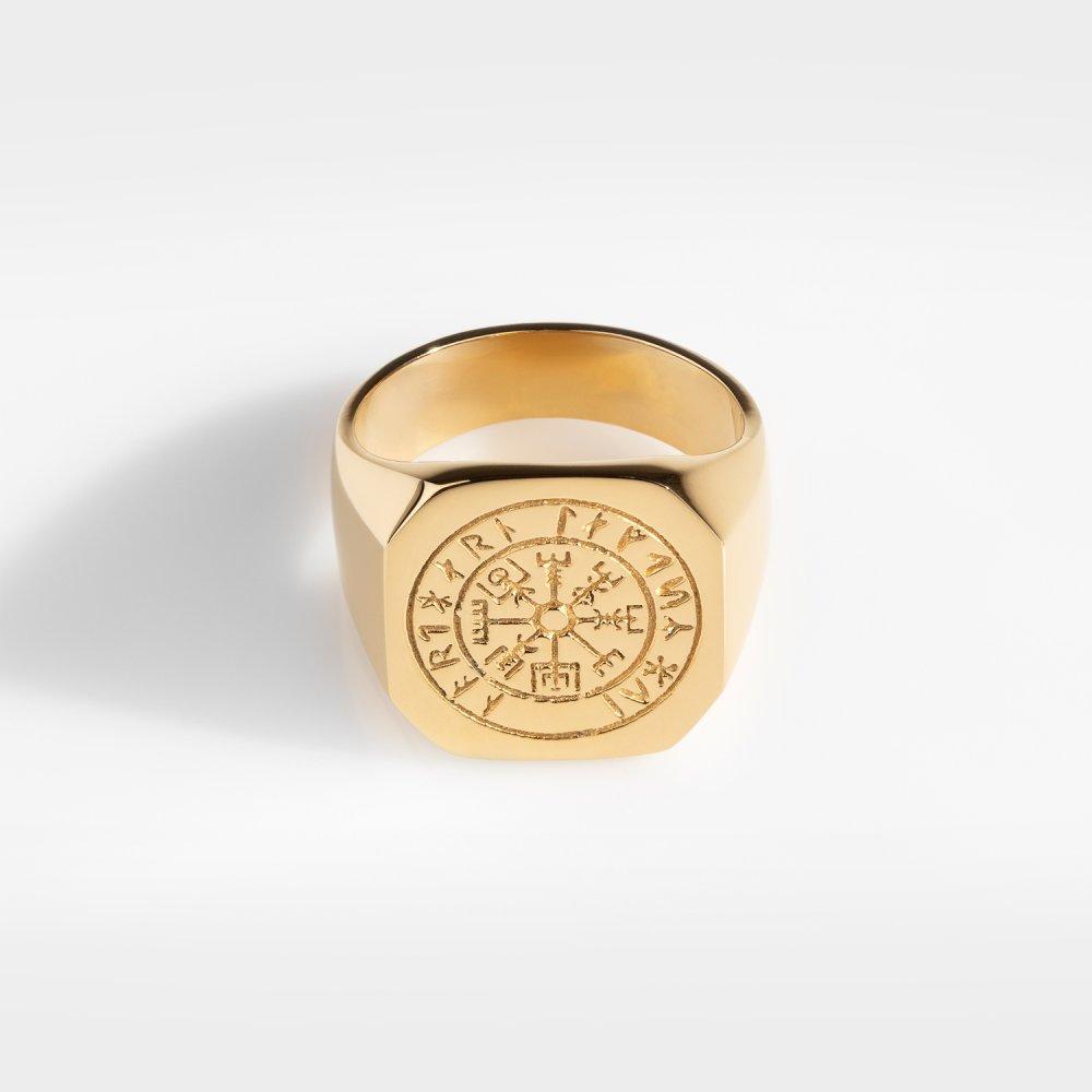 Vegvisir Oversize Signature - Guldtonet ring