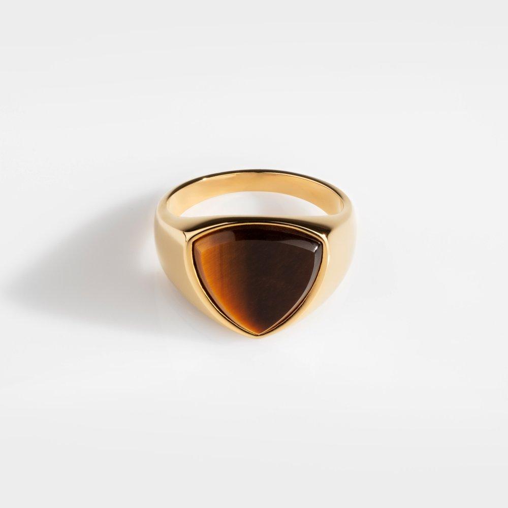 Tigereye Polygon Signature - Guldtonet ring